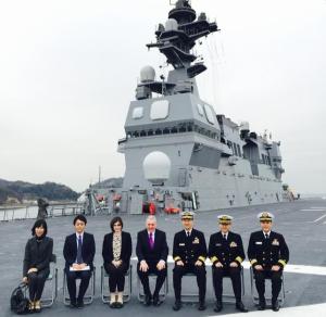 JS Hyuga with Rear Admiral, Umio Otsuka, JMSDF HQ at Yokosuka